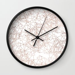 Elegant hand drawn rose gold white geometric floral mandala Wall Clock