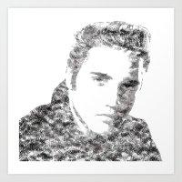 Text Elvis (Black and White) Art Print