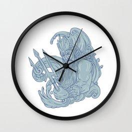 Poseidon Trident Waves Drawing Wall Clock