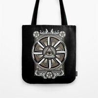 all seeing eye Tote Bags featuring All Seeing Eye by Pancho the Macho