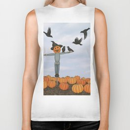 scarecrow and crows in the pumpkin patch Biker Tank