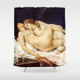 "Gustave Courbet ""The Sleep - Le Sommeil - Sleepers"" Shower Curtain"