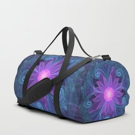 Blown Glass Flower of an ElectricBlue Fractal Iris Duffle Bag