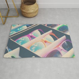 finding sunshine in a rainbow of sunglasses Rug