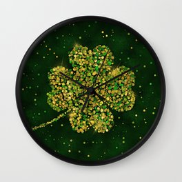 Irish Shamrock Four-leaf Lucky Clover Wall Clock