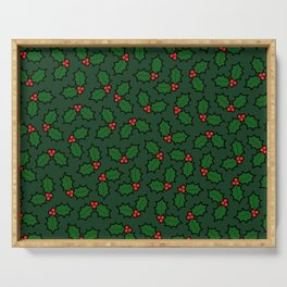 Holly Leaves and Berries Pattern in Dark Green Serving Tray