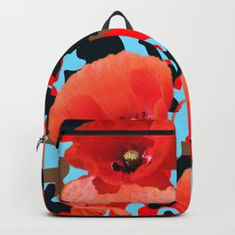 Poppie Camouflage Red Blue Backpack