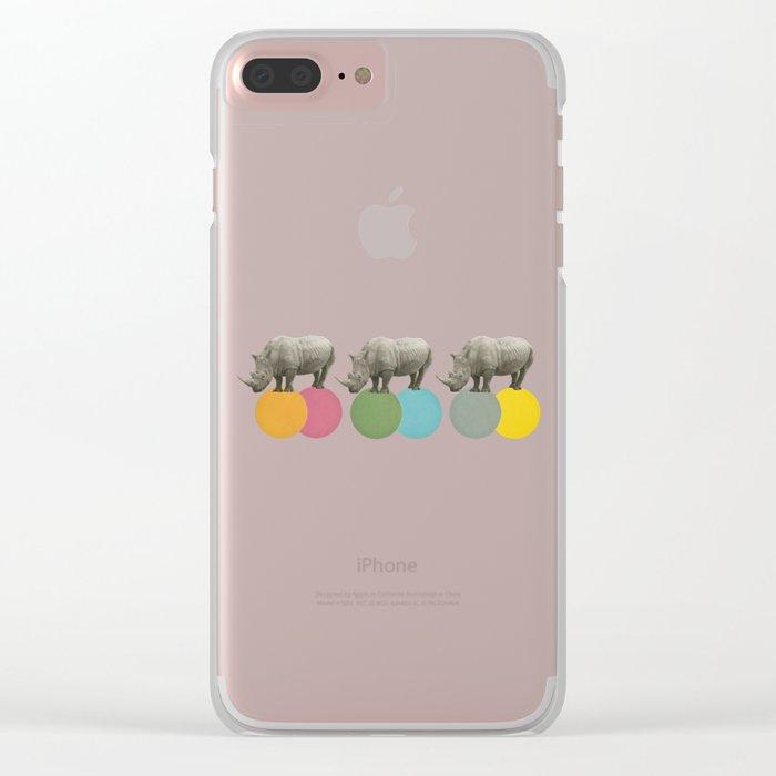 Rambling Rhinos Clear iPhone Case