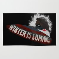 winter soldier Area & Throw Rugs featuring Winter Soldier Is Coming by Liam Neal