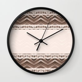 Decorative brown stripes on a beige background. Wall Clock