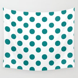 Polka Dots (Teal/White) Wall Tapestry
