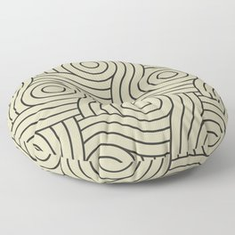 Circle Swirl Pattern Muted Green Inspired By Natural Olive Green - Martinique Dawn - Asian Silk Floor Pillow