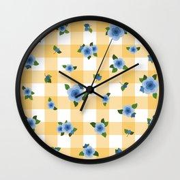 Sweet Blue Roses - yellow check Wall Clock