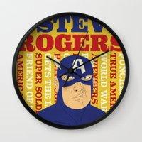 steve rogers Wall Clocks featuring Steve Rogers/Captain America by Joseph Rey Velasquez
