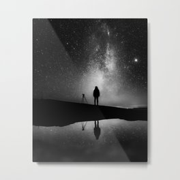 Finland and Galaxy (Black and White) Metal Print