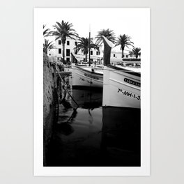 Boats in Fornells Art Print