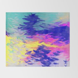 Neon Mimosa Inspired Painting Throw Blanket