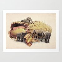 yetiland Art Prints featuring Elephant's Paradise by Eric Fan
