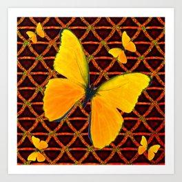 YELLOW BUTTERFLIES BROWN ART Art Print