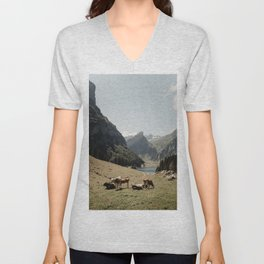 mountain cows in Switzerland | cowbells | Seealpsee | Ebenalp | Swiss alps | Europe | nature | landscapes | travel print | travel photography | art print  Unisex V-Neck