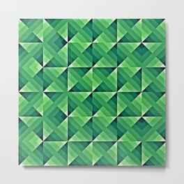 Green Geo Pattern Metal Print