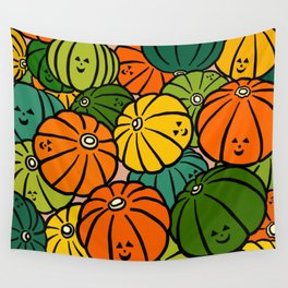 Halloween Pumpkins in Action Wall Tapestry
