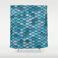bisexual Shower Curtains featuring light turquoise sparkling scales by Better HOME