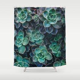 Succulent Blue Green Plants Shower Curtain