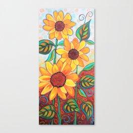 Three Sunflowers Canvas Print