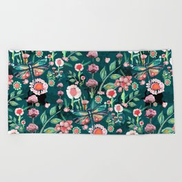 Botanical Dragonfly Garden Beach Towel
