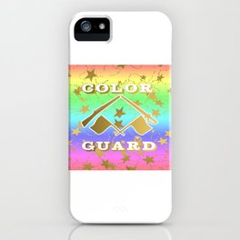 Color Guard Rainbow and Gold Stars Design iPhone Case