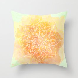 Watercolor Mandala // Sunny Floral Mandala Throw Pillow