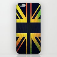 british flag iPhone & iPod Skins featuring RASTA BRITISH FLAG by shannon's art space