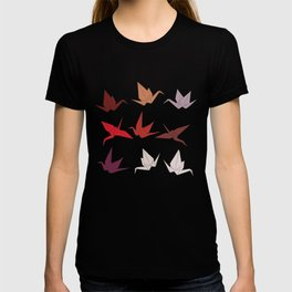 Japanese Origami paper cranes symbol of happiness, luck and longevity, sketch T-shirt