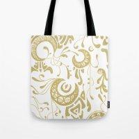 art nouveau Tote Bags featuring Nouveau by CyberneticGhost