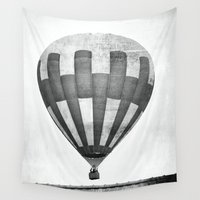 hot air balloon Wall Tapestries featuring Hot Air Balloon by Rose Etiennette