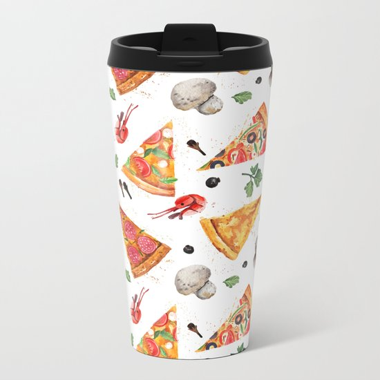 Pizza Pattern, Food Pattern, Watercolor Pizza Metal Travel Mug