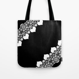 Retro . White lace on a black background . Tote Bag