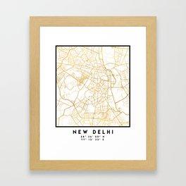 NEW DELHI INDIA CITY STREET MAP ART Framed Art Print