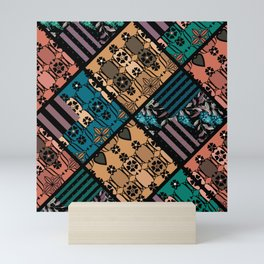 rustic patchwork , 1 Mini Art Print