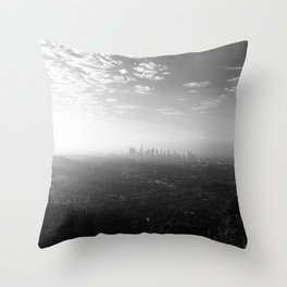 Los Angeles. L.A. Skyline. Black and White. Jodilynpaintings. Sunrise. Sunset. Cityscape. California Throw Pillow