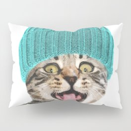 Cat with hat illustration Pillow Sham