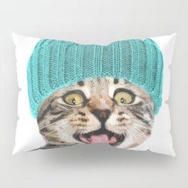 Cat with hat illustration Pillow Sham