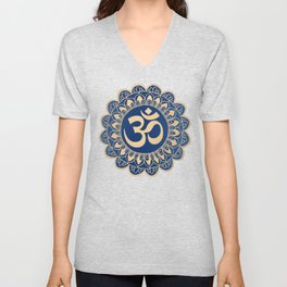 Blue and Gold Ohm Mandala Unisex V-Neck
