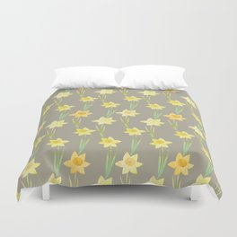 Yellow Watercolour Stemmed Daffodil Pattern Duvet Cover