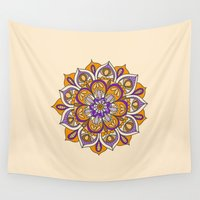 hippy Wall Tapestries featuring Hippy Mandala - Orange Edition by Ciro Design