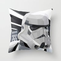 storm Throw Pillows featuring Stormtrooper by Liam Brazier