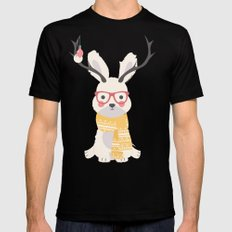 White rabbit Christmas pattern 001 Mens Fitted Tee Black MEDIUM