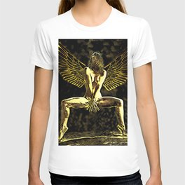 3525-MM Golden Angel Feminine Energies Contained Fingers Wings Spread T-shirt