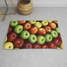 Red and Green Apples Displayed In A Pattern Rug